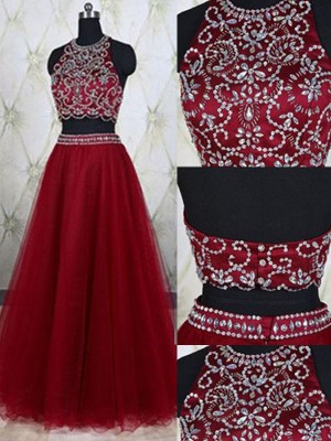 A-Line Jewel Tulle Beading Floor-Length Two Piece Formal Dress