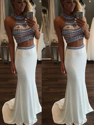 Mermaid Halter Beading Sweep/Brush Train Chiffon Two Piece Formal Dress