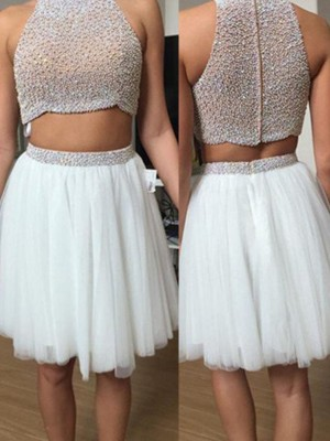 A-Line High Neck Tulle Beading Short/Mini Two Piece Formal Dresses