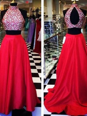 A-Line Halter Beading Satin Sweep/Brush Train Two Piece Formal Dresses