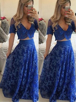A-Line V-neck Short Sleeves Floor-Length Lace Two Piece Formal Dresses