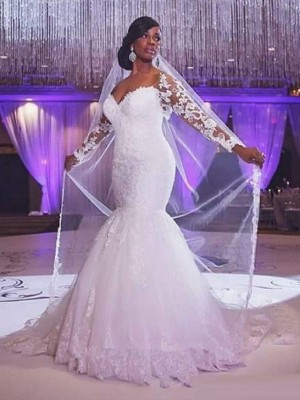 Trumpet Long Sleeves Sweetheart Sweep/Brush Train Applique Tulle Bridal Gown