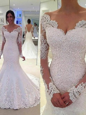 Trumpet V-neck Long Sleeves Lace Court Train Tulle Bridal Gown