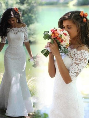 Trumpet Off-the-Shoulder Lace Sweep/Brush Train Bridal Gown