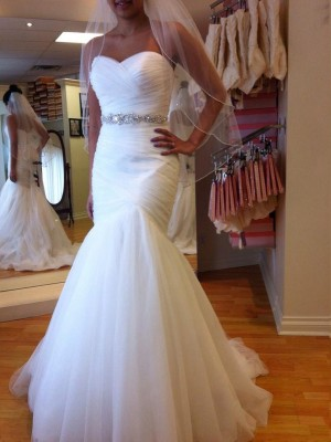 Trumpet Sleeveless Sweetheart Court Train Beading Tulle Bridal Gown