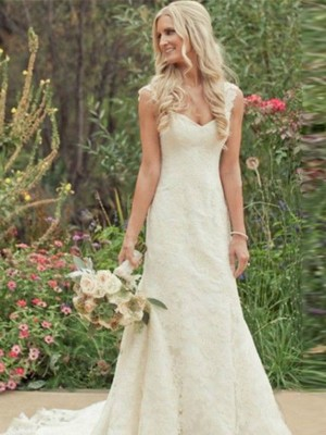 Trumpet Sleeveless Sweep/Brush Train V-neck Lace Wedding Gown