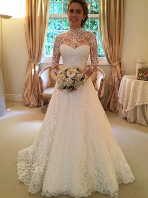 Ball Gown High Neck Long Sleeves Lace Court Train Bridal Dress