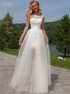 Column Sleeveless Lace Scoop Floor-Length Tulle Bridal Dress