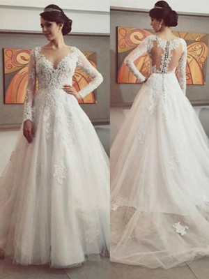 Ball Gown V-neck Long Sleeves Lace Court Train Tulle Bridal Dress
