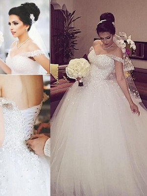 Ball Gown Off-the-Shoulder Sleeveless Lace Court Train Tulle Bridal Gowns