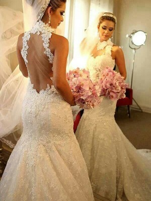 Trumpet High Neck Sleeveless Lace Court Train Bridal Gowns