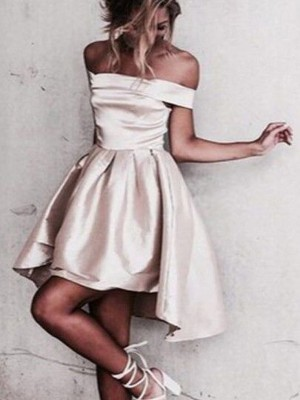 A-Line Sleeveless Off-the-Shoulder Satin Short/Mini Party Wear