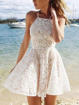 A-Line Sleeveless Halter Lace Spandax Short/Mini Party Wear