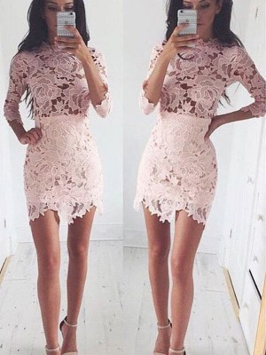 A-Line 1/2 Sleeves Scoop Lace Short/Mini Party Wear