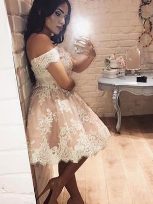 A-Line Sleeveless Off-the-Shoulder Lace Short/Mini Evening Dress