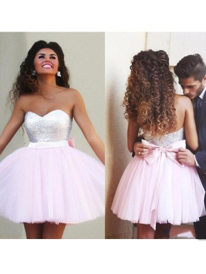Princess Sleeveless Sweetheart Beading Tulle Short/Mini Women Dress