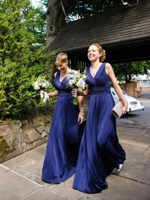 A-Line V-neck Pleats Chiffon Floor-Length Bridesmaid Dress