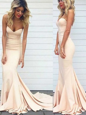 Mermaid Sweetheart Satin Sweep/Brush Train Formal Gown