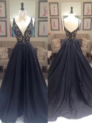 A-Line V-neck Sweep/Brush Train Taffeta Formal Gown