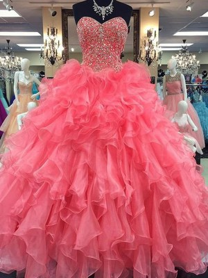 Ball Gown Sweetheart Floor-Length Beading Organza Formal Gown