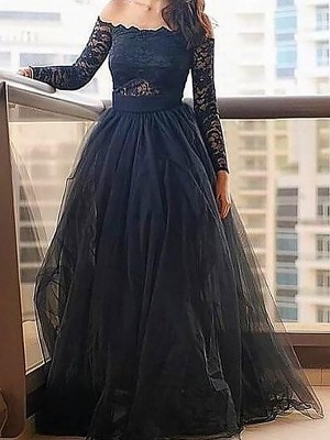 A-Line Off-the-Shoulder Long Sleeves Lace Floor-Length Tulle Formal Gown
