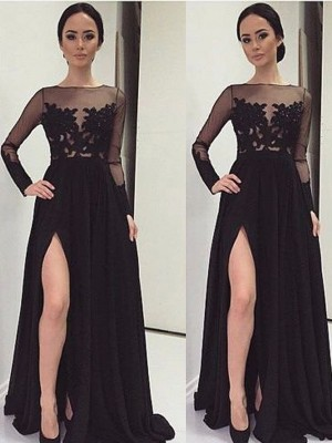 A-Line Bateau Long Sleeves Lace Floor-Length Chiffon Formal Dress