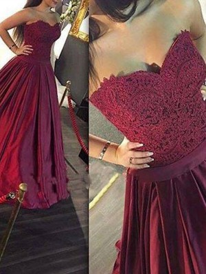 A-Line Sweetheart Lace Satin Floor-Length Evening Gown