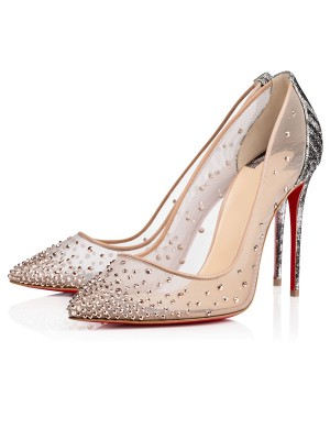 Women's Closed Toe Stiletto Heel with Hot Drilling High Heels
