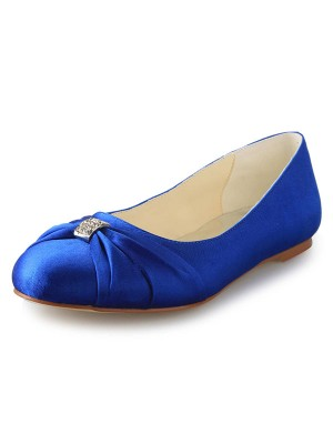 Women's Flat Heel Closed Toe Satin With Rhinestone Flat Shoes