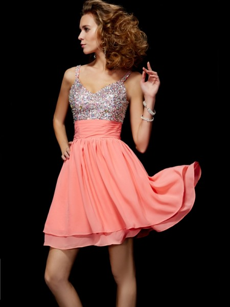 A Line Princess Mini V-Neck Chiffon homecoming Dress