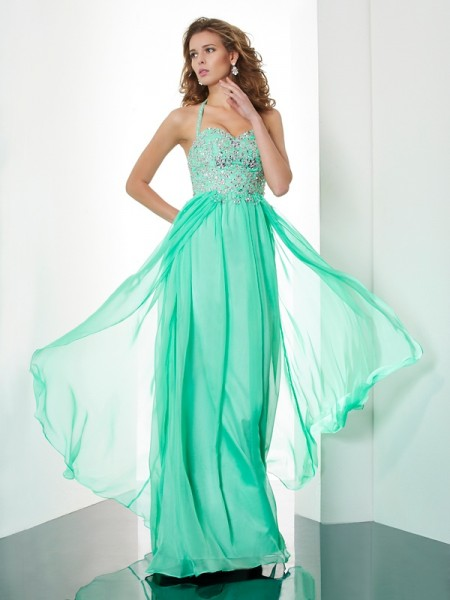 A Line Princess Halter Floor Length Chiffon Beading Evening Gown