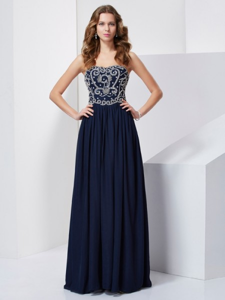 Beading A Line Princess Floor Length Strapless Chiffon Prom Dress