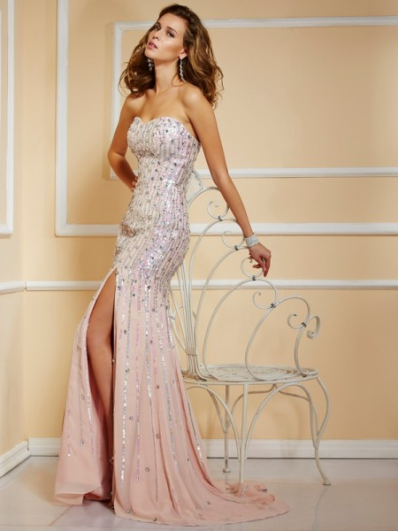 A Line Princess Strapless Chiffon Floor Length Beading Evening Gown