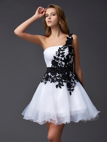 A Line Princess One Shoulder Mini Organza Gown