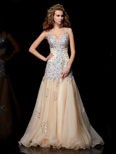 Column V-Neck Beading Organza Floor Length Evening Gown