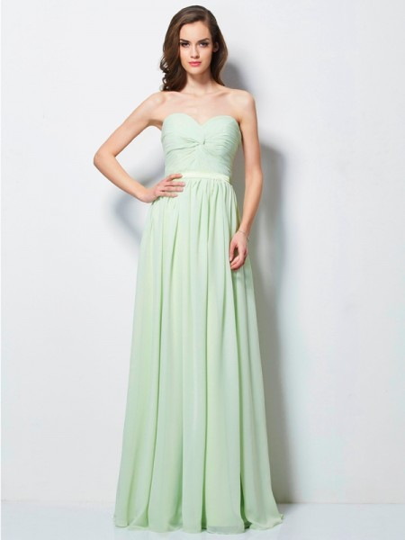 A Line Princess Sweetheart Ruffles Floor Length Chiffon Dresses