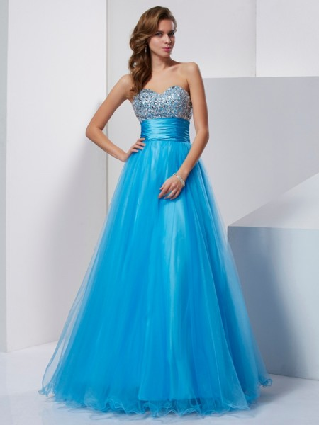 A Line Princess Strapless Sweetheart crystal Floor Length Tulle Evening Gown