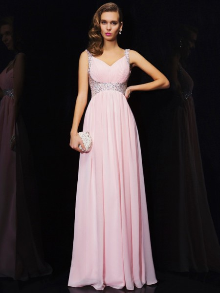 A Line Princess Chiffon Straps V-Neck Beading Floor Length Evening Gown