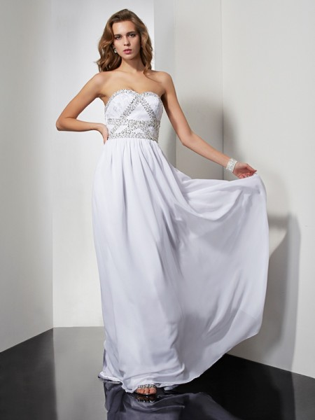 Column Chiffon Strapless Sweetheart Beading Floor Length Dress