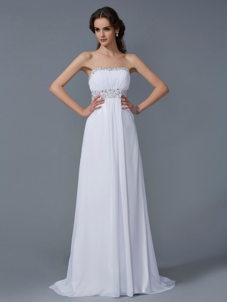 A Line Princess Strapless Chiffon Sweep Brush Train Beading Evening Gown