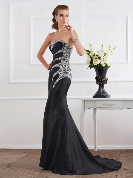 Mermaid Taffeta Strapless Sweetheart Floor Length Beading Gown