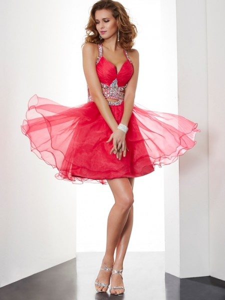 A Line Princess Halter Beading Mini Organza Gown