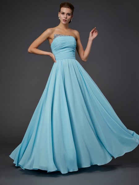 Column Beading Strapless Floor Length Chiffon Dress