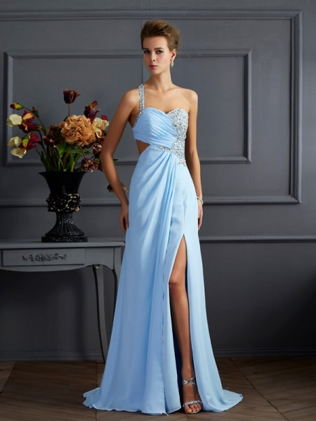 Column Column One Shoulder Beading Floor Length Chiffon Prom Dress