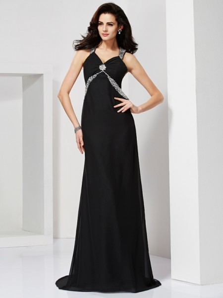 Column Beading Straps Sweep Brush Train Chiffon Prom Dress