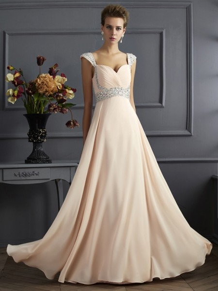 A Line Princess Straps Beading Chiffon Floor Length Evening Gown