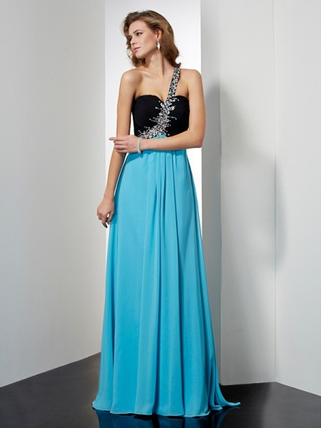 A Line Princess One Shoulder Beading Floor Length Chiffon Prom Dress