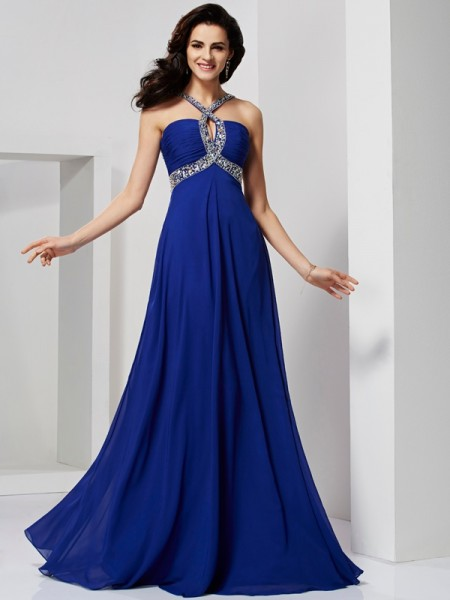 Beading A Line Princess Sweep Brush Train Chiffon Prom Dress