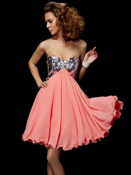 A Line Princess Sweetheart Beading Mini Chiffon homecoming Gown
