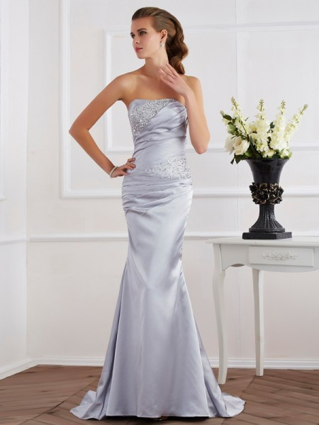 Mermaid Beading Strapless Elastic Woven Satin Evening Gown